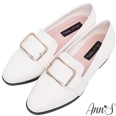 Ann'S韓式文青-金屬圓弧方扣紳士平底鞋-白