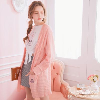 AIR SPACE Estherlovesyou口袋刺繡針織罩衫外套(粉紅)