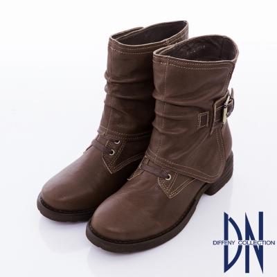 DN 帥氣俐落 柔軟羊皮金屬扣飾帶短筒靴 棕