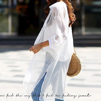 正韓 輕薄透膚紋理開衩長版襯衫 (白色)-N.C21