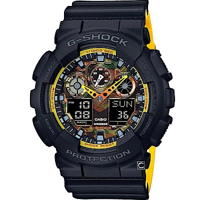 G-SHOCK 黃橙迷彩運動錶(GA-100BY-1A)51.2mm