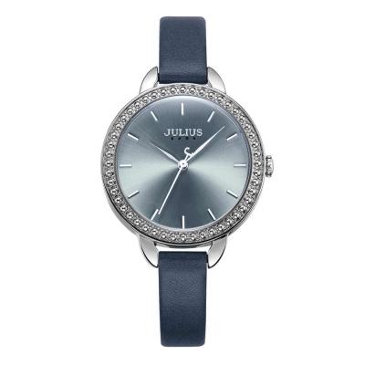 JULIUS聚利時 率真魅力復刻皮錶帶腕錶-午夜藍/26mm