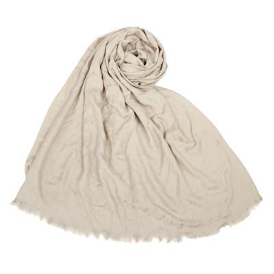 Calvin Klein CK滿版LOGO絲質寬版披肩圍巾-卡其色