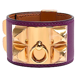 HERMES collier de chien金屬鉚釘山羊皮寬版手環(S-紫X金)