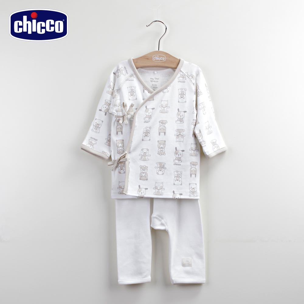 chicco動物肚衣+初生褲-卡其(3-6個月)