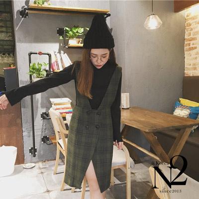 裙子-毛呢格紋撞色排釦開衩連身裙-軍綠-N2