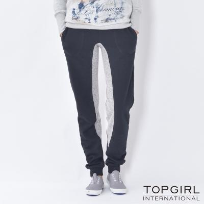 TOP-GIRL-造型撞色拼接休閒褲-神祕黑