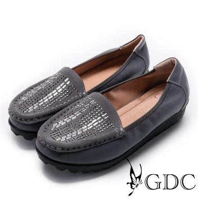 GDC-真皮精緻璀璨水鑽休閒鞋-深灰色