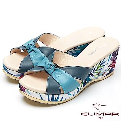 CUMAR艷夏時尚-搶眼色彩搭配厚底台拖鞋-深藍色