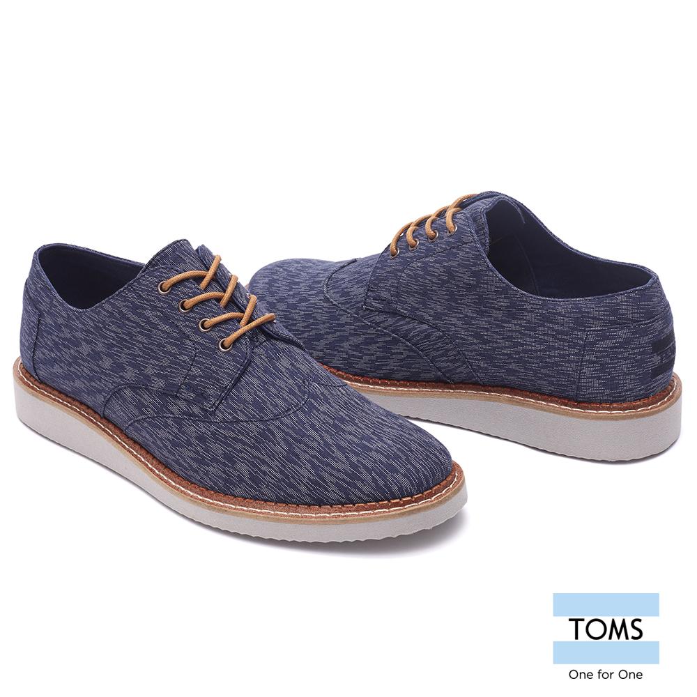 TOMS紋理紡織帆布牛津鞋-男款藍