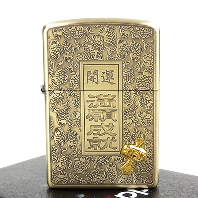 【ZIPPO】日系~開運-滿願成就-萬寶槌貼飾蝕刻加工打火機