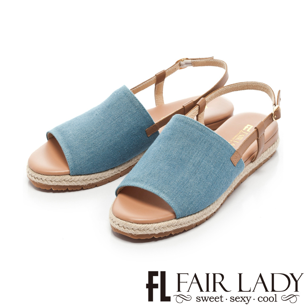 Fair Lady 度假風簡約寬帶魚口編織涼鞋 藍
