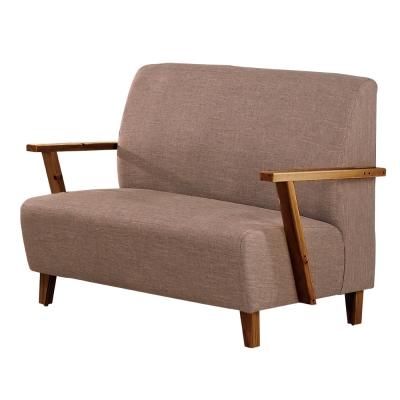 居家生活 科羅旺亞麻布紋皮雙人沙發(兩色可選)