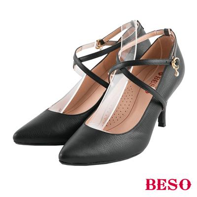 BESO纏繞美型 2ways穿法單鑽全真皮跟鞋~黑