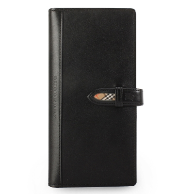 BURBERRY年度限量素面皮革長型穿扣手帳冊-黑色