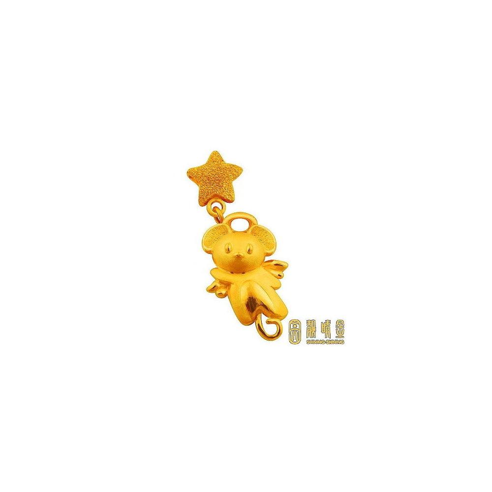 【靚睛金】天使熊黃金墜