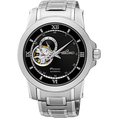 SEIKO Premier 開芯鏤15749空視窗機械腕錶(SSA321J1)-黑/40mm