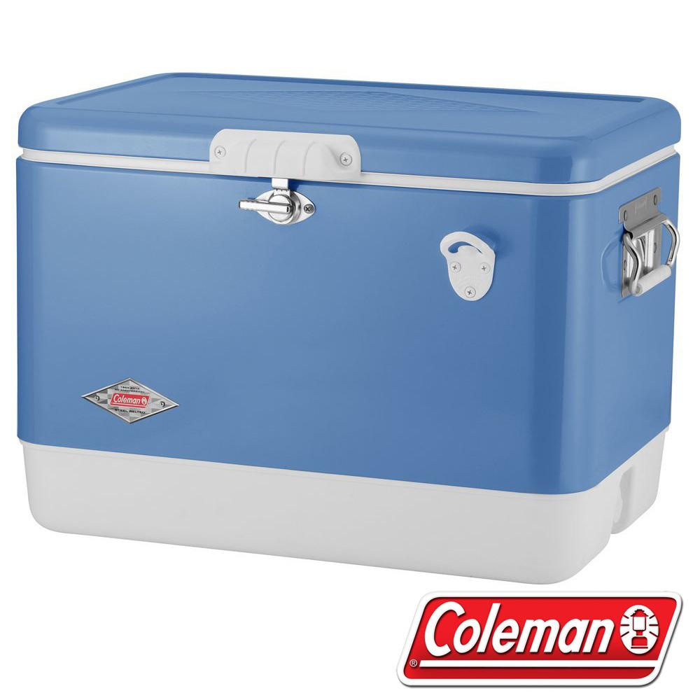 Coleman CM-04937 51L 露營經典鋼甲冰箱/清澈藍 行動冰箱/保冰桶/保冷