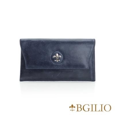 義大利BGilio-蠟感裂紋牛皮西式信封長夾-深藍色 1944.328A-09