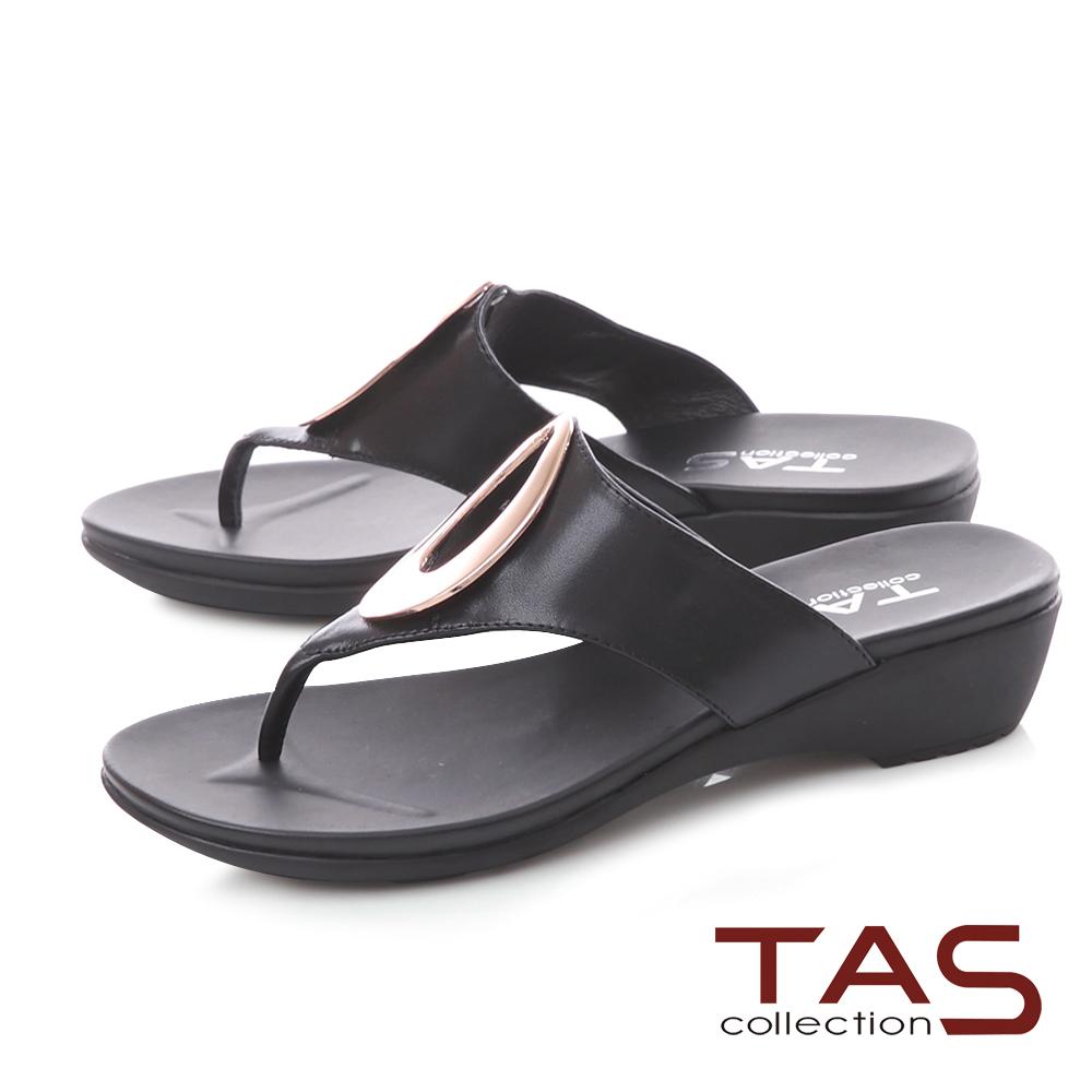 TAS 金屬圓飾寬帶夾腳拖鞋-經典黑