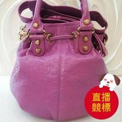 BALENCIAGA 紫羅蘭羊皮金釦手提斜背水桶包