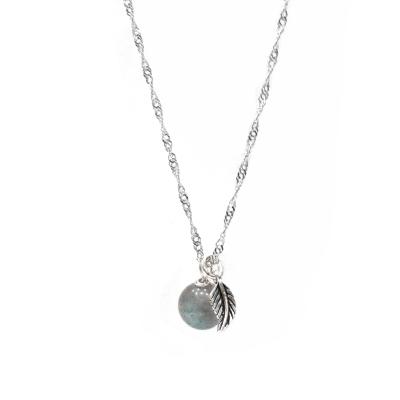 Hera925純銀手作天然拉長石羽毛項鍊/鎖骨鍊