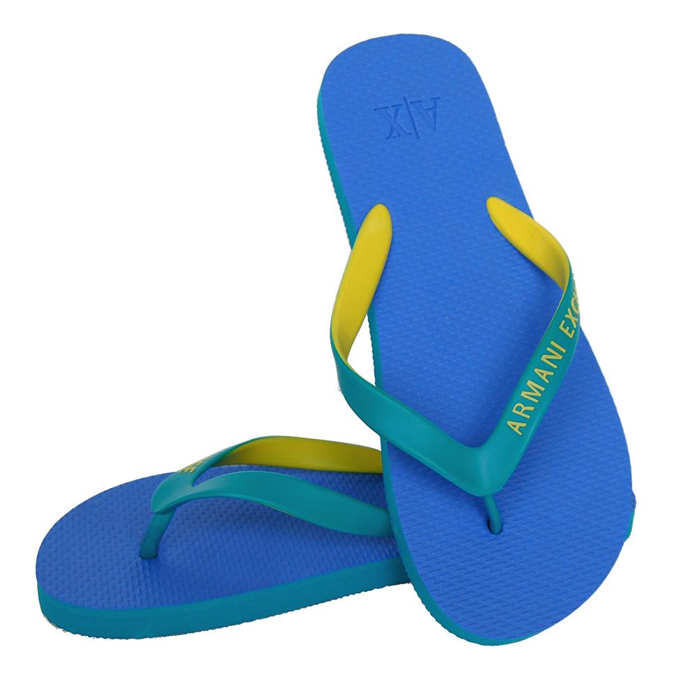 ARMANI EXCHANGE藍綠雙色時尚夾腳拖(男)