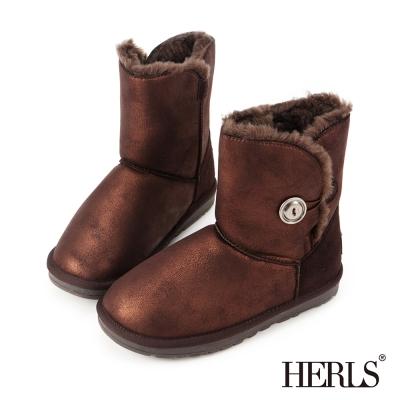 HERLS-霧面金屬圓釦 毛絨雪靴-古銅色