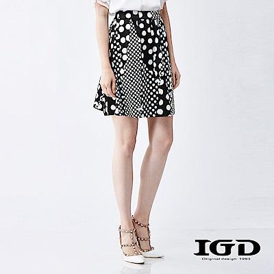 IGD英格麗 俏麗大小圓波點修身短裙
