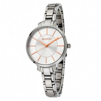 MANGO 簡約風範纖細淑女不鏽鋼時尚腕錶-銀色/31mm