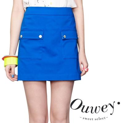 OUWEY歐薇-大口袋造型俐落棉質A字裙