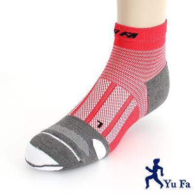 YuFa裕發運動達人90˚直角不落滑設計多彩抗菌除臭襪(紅)