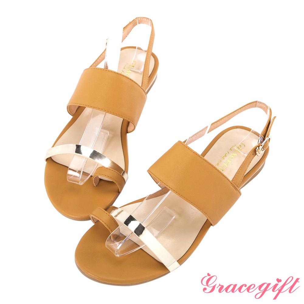 Grace gift-一字金屬細條寬版平底涼鞋 棕