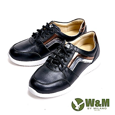 W&M Fit健走系列 金屬線條彈力舒適厚底增高女鞋-黑(另有紫)