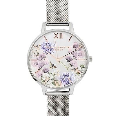 Olivia Burton 英倫復古手錶 美麗花園 銀色米蘭金屬錶帶38mm
