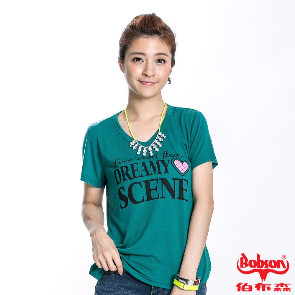 BOBSON 女款SCENE短袖上衣(綠40)