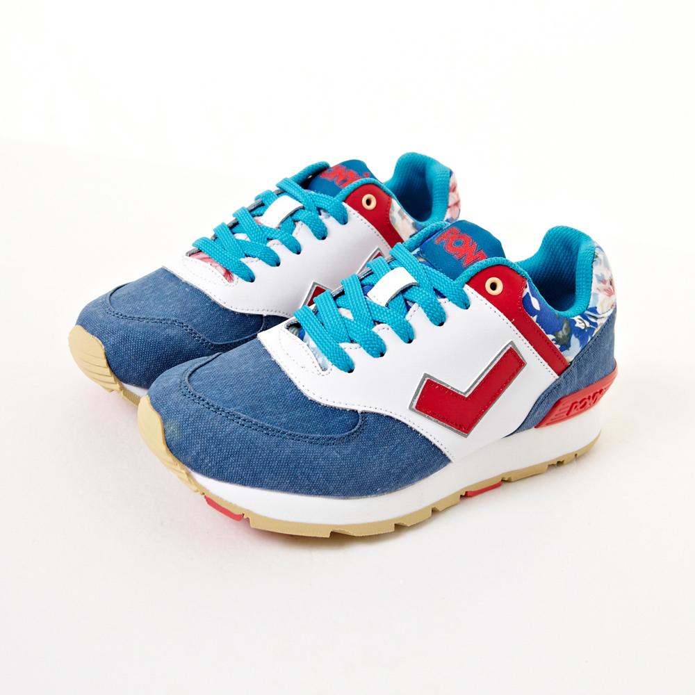 PONY SOLA-T系列 風味十足花語慢跑鞋-藍(女)