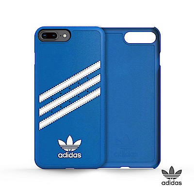 adidas iPhone 7/8 plus 經典三條紋 貼皮背蓋 經典藍