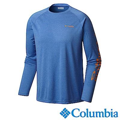 Columbia哥倫比亞 男款-防曬50快排長袖上衣-藍色 UFO10900BL