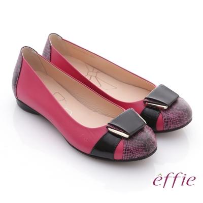 effie 舒適樂活 全羊皮立體釦飾壓紋平底鞋 紅