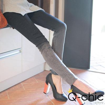 【Q-chic】炫染漸層色顯瘦煙管褲 (黑色)