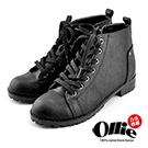 Aviator*韓國空運-Ollie正韓製率性壓紋皮革綁帶增高短筒靴-黑
