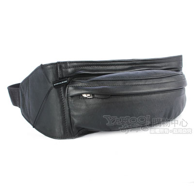 Emporio Armani 經典全皮革雙拉鍊萬用腰包-黑色