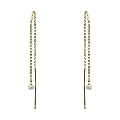 Dogeared 線型耳環 迷你小珍珠墜 不對稱拉線式設計 純銀鑲14K金 附原廠盒