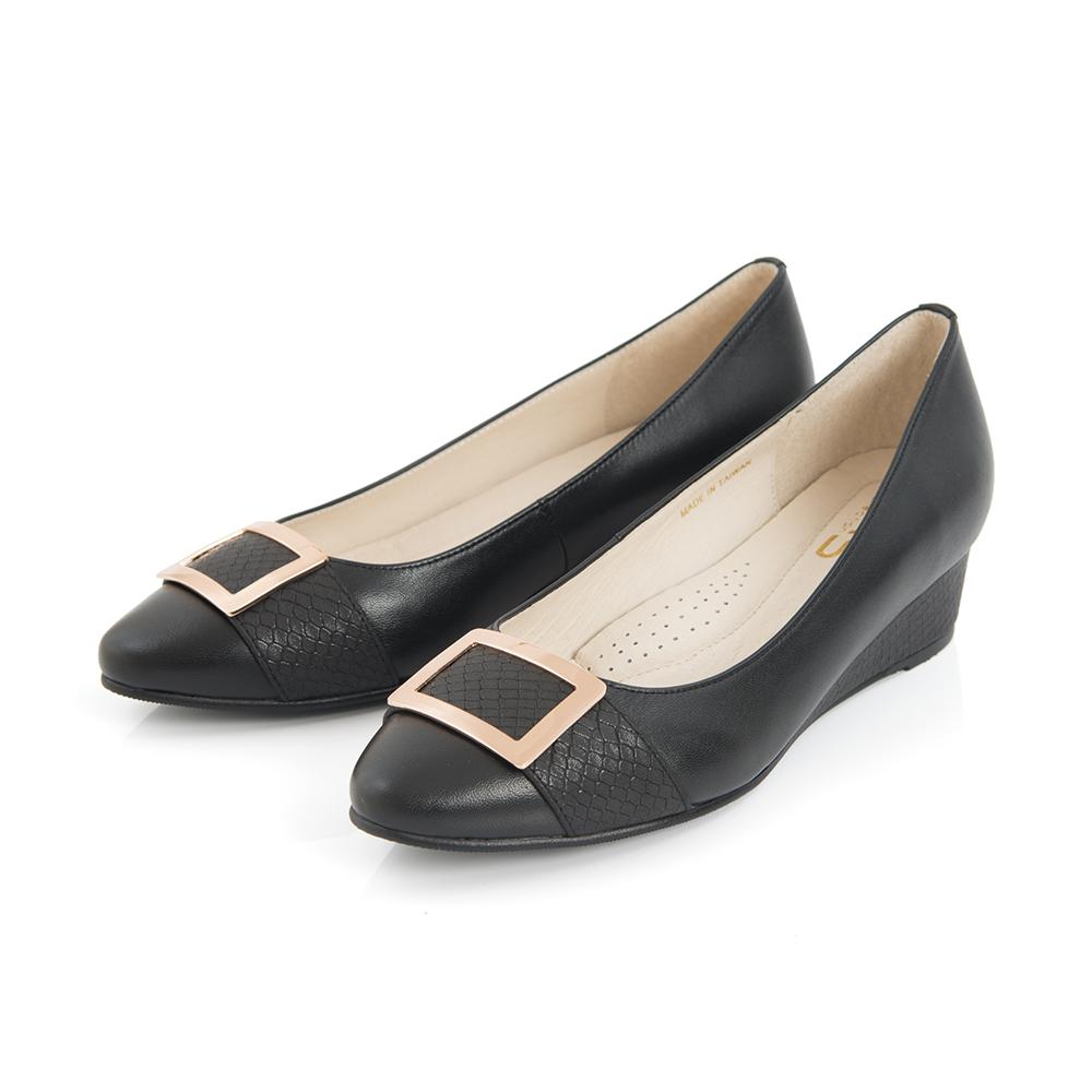 TAS方形金屬飾釦拼接楔型鞋-實搭黑