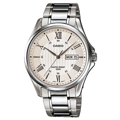 CASIO 經典復古羅馬簡約指針紳士腕錶-銀色X白面(MTP-1384D-7)/42mm