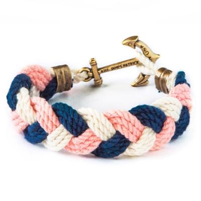 Kiel James Patrick 美國手工船錨棉麻花辮單圈手環 藍粉白編織
