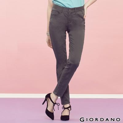 GIORDANO-女裝中腰輕磨毛修身窄腳褲-08炭灰