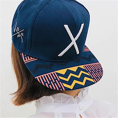 梨花HaNA 男女可嘻哈圖騰率性深藍板帽棒球帽-速