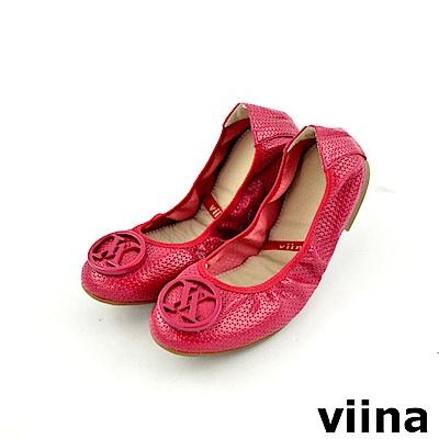 viina 經典款壓紋摺疊鞋MIT-紅色